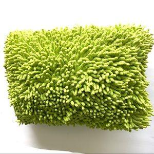 Lime Green Fuzzy Throw Pillow Rectangular 16x12 in